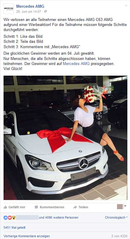 Mercedes-AMG-verlosung-Facebook-Fake